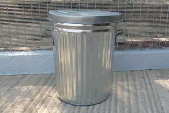 round metal dustbin with lid