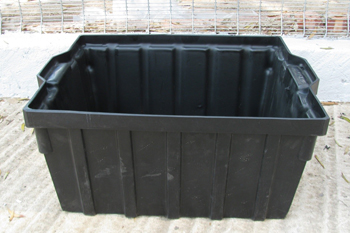 large black polyethylene feedbin