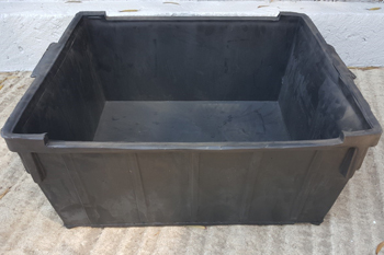 large black plastic feedbin with moulded handles