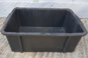 medium black plastic feedbin with moulded handles