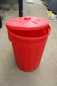 plastic 85 litre round bin with lid