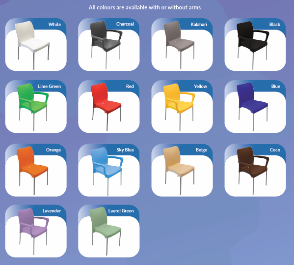 range of colours of plastic chairs