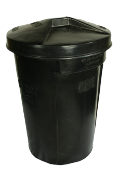 plastic round bin with moulded handles and lid