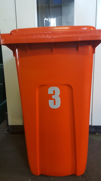 rubbish bin number sticker